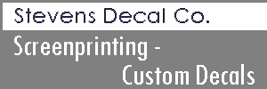 Stevens Decal Co. provides screen printing, decals and emplems, poster and banners, counter, floor and sidewalk graphics, door and window signs and much more.